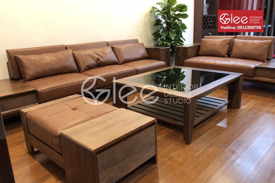 bàn ghế sofa gỗ óc chó