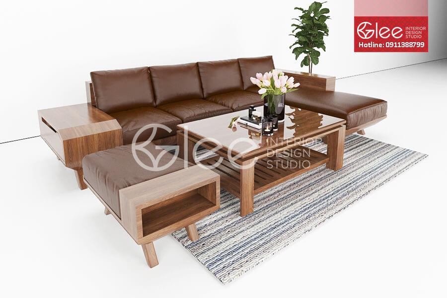 sofa gỗ óc chó GSG37