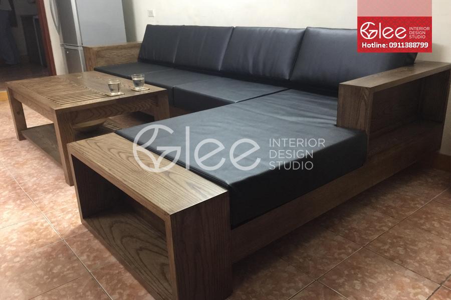 sofa gỗ sồi sơn giả óc chó