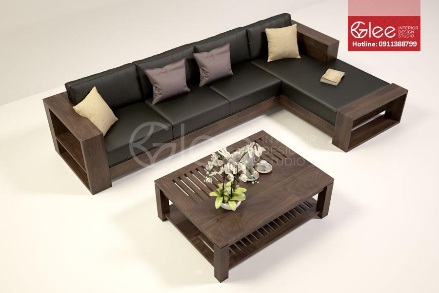 sofa go chu L chung cu